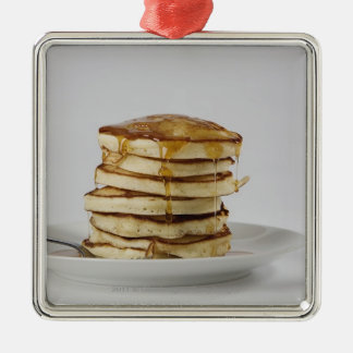 Pancakes with syrup Silver-Colored square ornament