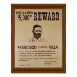 Pancho Villa Vintage Wanted Poster Reward