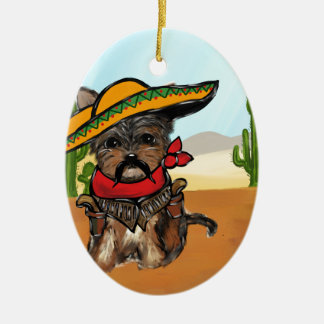 Pancho Yorkie Poo Ceramic Ornament