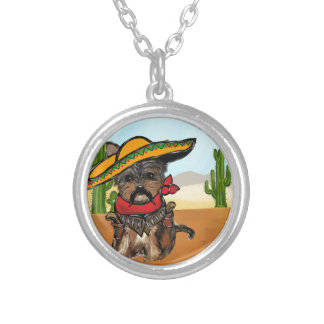 Pancho Yorkie Poo Silver Plated Necklace