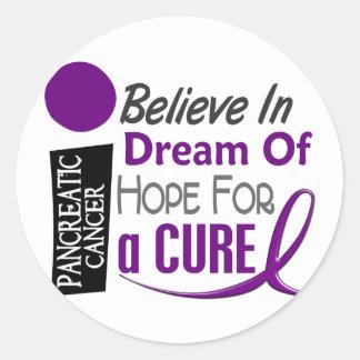 Pancreatic Cancer Awareness BELIEVE DREAM HOPE Classic Round Sticker