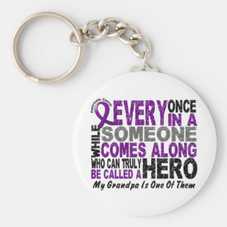 Pancreatic Cancer HERO COMES ALONG 1 Grandpa Basic Round Button Keychain