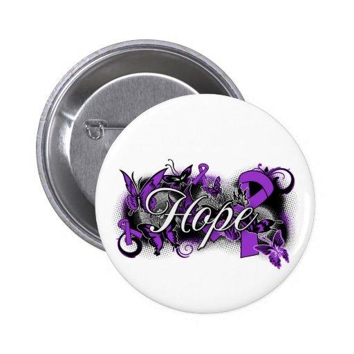 Pancreatic Cancer Hope Garden Ribbon Buttons