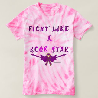 Pancreatic Cancer Rock Star Ladies Tie-Dye T-shirt