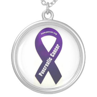 Pancreatic Cancer Round Pendant Necklace