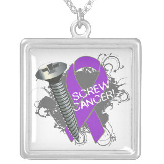 Pancreatic Cancer - Screw Cancer Square Pendant Necklace