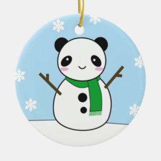 Panda and Bunny Snowmen Ceramic Ornament