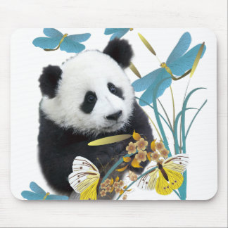 Panda and Dragonflies Mouse Pad