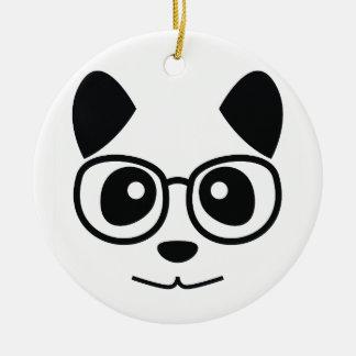 Panda And Glasses Ceramic Ornament