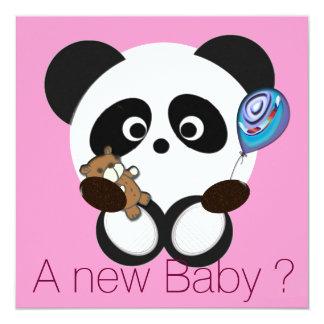 "Panda baby 5.25"" square invitation card"