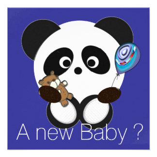 Panda baby personalized announcement