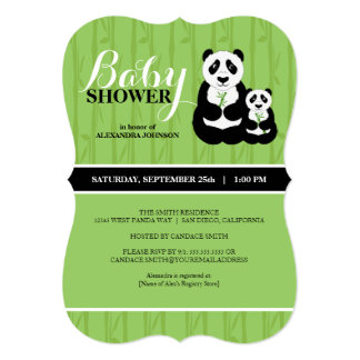 "Panda Baby Shower Green 5"" X 7"" Invitation Card"