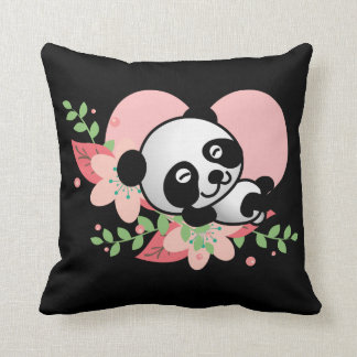 Panda baby sleeping so kawaii cute throw pillow