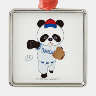 Panda Baseball Player Pitching a Baseball Metal Ornament