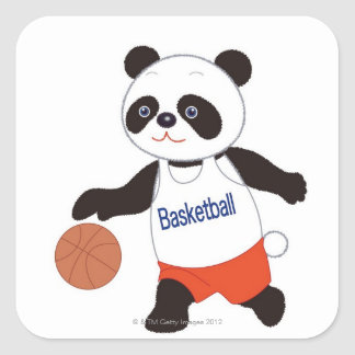 Panda Basketball Player Dribbling Square Sticker