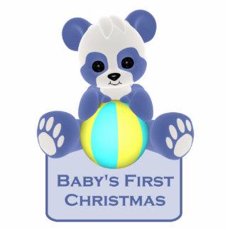 Panda Bear Baby's First Christmas Ornament Photo Sculpture Ornament