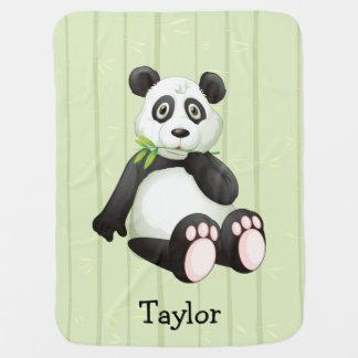 Panda Bear Bamboo Bkgr Black & White Monogram Baby Blanket