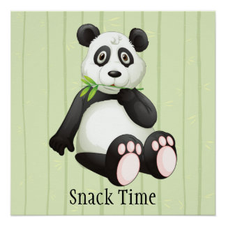 Panda Bear Bamboo Bkgr Snack Time Nursery Art Perfect Poster