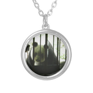 Panda Bear Behind Bars Silver Plated Necklace
