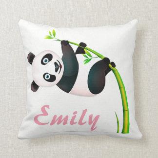 Panda Bear Black and White Hanging Bamboo Name Throw Pillow
