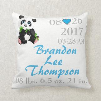 Panda Bear Black and White Name Weight Birth Throw Pillow