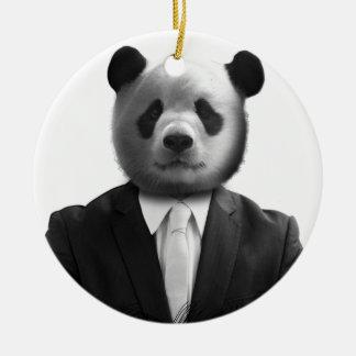 Panda Bear Business Suit Ceramic Ornament
