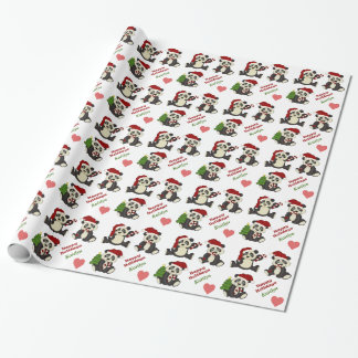 Panda Bear Candy Cane Personalized Wrapping Paper
