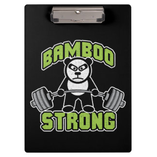 Panda Bear Cartoon - Bamboo Strong - Deadlift Clipboard
