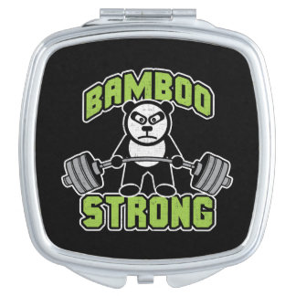 Panda Bear Cartoon - Bamboo Strong - Deadlift Compact Mirror