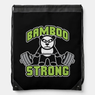 Panda Bear Cartoon - Bamboo Strong - Deadlift Drawstring Bag