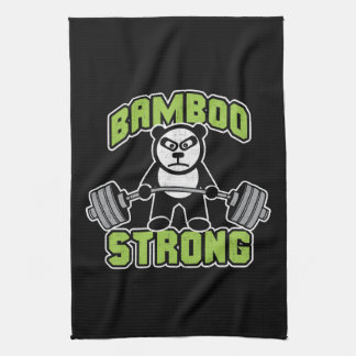 Panda Bear Cartoon - Bamboo Strong - Deadlift Kitchen Towel