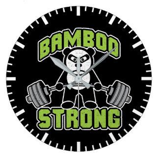 Panda Bear Cartoon - Bamboo Strong - Deadlift Large Clock
