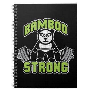 Panda Bear Cartoon - Bamboo Strong - Deadlift Spiral Notebook