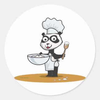 Panda Bear Cook Round Sticker
