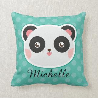 Panda Bear Cute Polka Dot Personalized Pillow