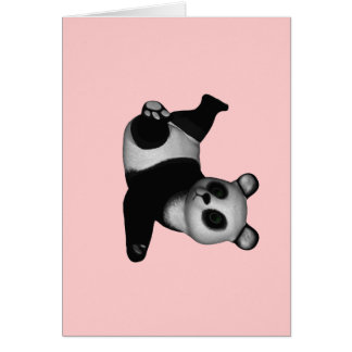 Panda Bear doing hand stand with one hand! Card