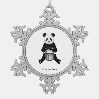 Panda Bear Drum Illustration Pewter Snowflake Ornament