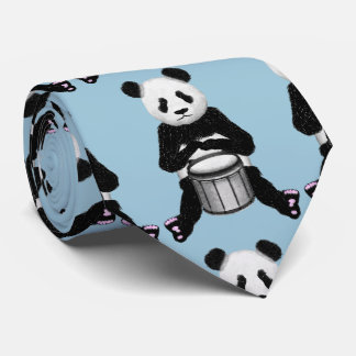 Panda Bear Drum Illustration Tie
