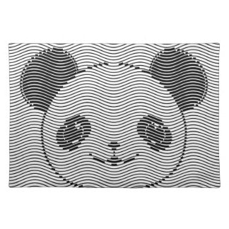 Panda Bear Face On Wave Pattern Placemat