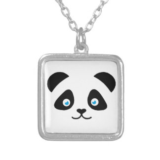 panda bear face silver plated necklace