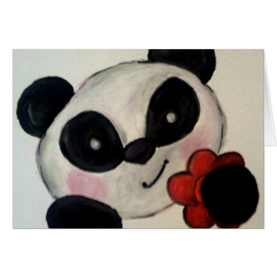 Panda Bear Flower Note Card
