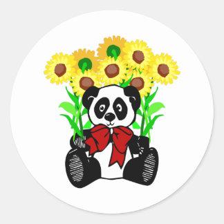 Panda Bear Flowers Round Sticker
