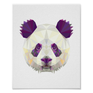 Panda bear geometrical nordic style poster