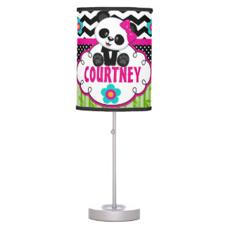 Panda Bear Girls Room Lampshade Personalized Table Lamp