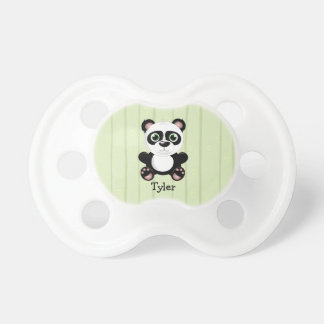 Panda Bear Green Bamboo Background Black & White Pacifier