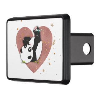 Panda Bear Heart for Animal Lovers Trailer Hitch Cover