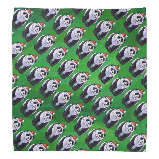 Panda Bear in Santa Hat on Green Do-rag