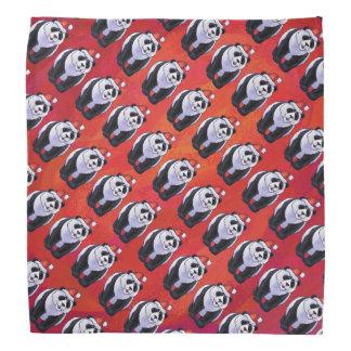 Panda Bear in Santa Hat On Red Kerchief