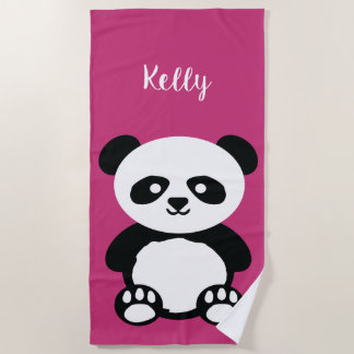 Panda Bear Kawaii Personalized Kids Bright Pink Beach Towel