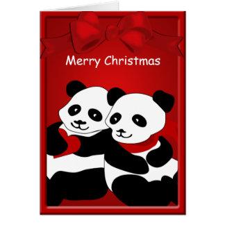 Panda Bear Love Couple Merry Christmas Greeting Card